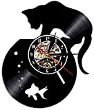Reloj de Pared de Vinilo Reloj de Registro de Gato Negro y Acuario Reloj de diseño 3D Decoración del hogar Regalo Hecho a Mano Reloj de Pared Luminoso 30X30cm