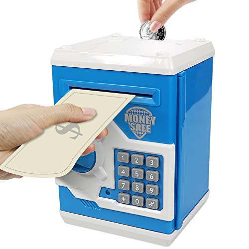HUSAN Great Gift Toy for Kids Code Electronic Piggy Banks Mini ATM Electronic Coin Bank Box for Children Password Lock Case (Blue/White)