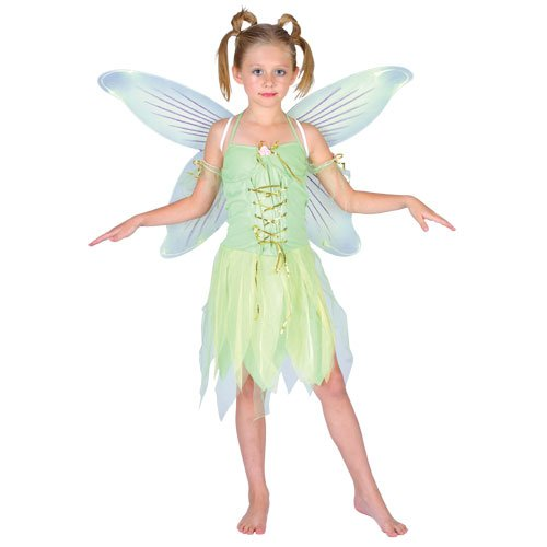 Childrens Girls Neverland Fairy Costume for Peter Pan Fairytale Cosplay Age 8-10 Years