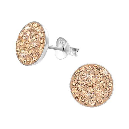 Kristall Ohrstecker Ohrringe 925 Silber Rosegold flach rund 10mm für Damen und Mädchen