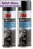 3M 08877 - Confezione da 2 spray Schutz per carrozzeria, 500 ml, con rivestimento sottoscocca nero e rivestimento sottoscocca è un rivestimento protettivo gommato ad asciugatura rapida che asciuga fino a una finitura strutturata per riparare passaruota o sottoscocca.