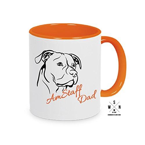 Siviwonder Tasse Kaffeebecher American Staffordshire AM.Staff DAD Hund Hunde Fun WILSIGNS orange
