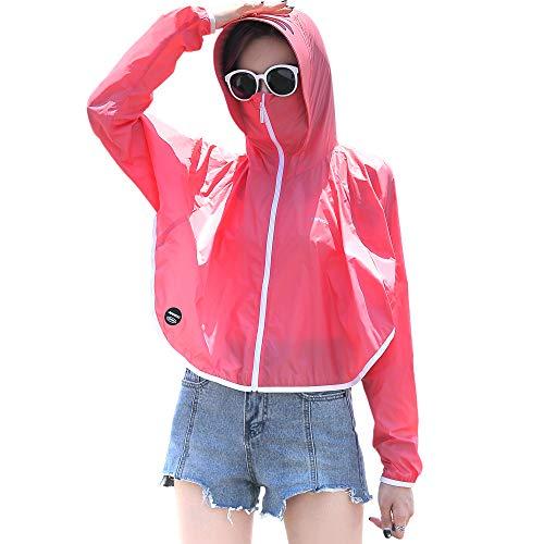 Sidiou Group UPF50+ - Chaqueta de protección contra rayos UV con capucha, de secado rápido, abrigo para la piel, informal, ciclismo, pesca, chaqueta ligera (1405 rosa, XL)