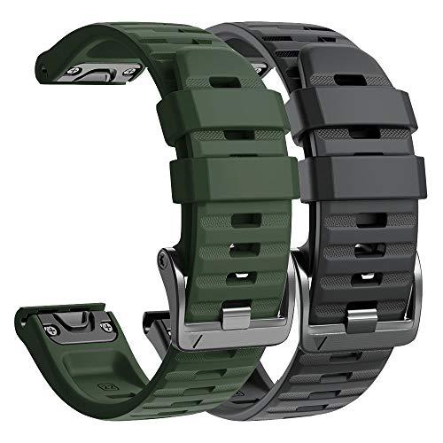 NotoCity Armband für Garmin Fenix 6/Fenix 6 Pro/Fenix 5/Fenix 5 Plus/Forerunner 935/945/Instinct, 22mm Breite Silikon Estrazarmband Quick-Fit Uhrenarmband für Garmin(Schwarz+Armeegrün)