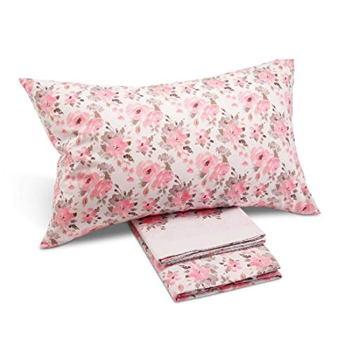 Caleffi Floral Completo Lenzuola, Cotone, Rosa, Matrimoniale