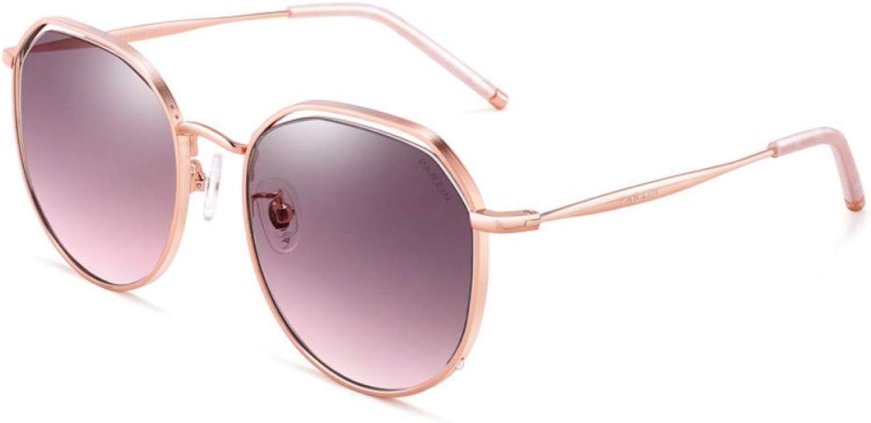 Fashion Sunglasses Ladies Metal Round Frame Psychedelic Light color Nylon Lens Tide Sunglasses gold Frame Transparent Tea