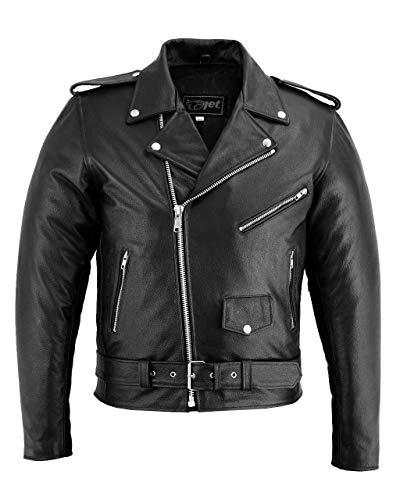 JET Chaqueta Moto Cuero Hombre con Protecciones Vintage Clasico Iconico Retro BRANDO (Negro liso, M)