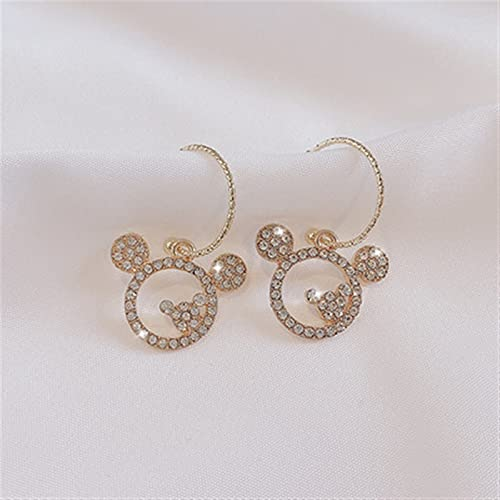Pendientes lindos ratones ganchos cristales para mujer joyería $158 (Metal Color : RXC1033)