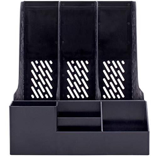 Ablagesystem für den Schreibtisch Schreibtisch-Organisator und Storage Magazine Datei-Buch Rack-Desktop Storage Box Vertical File-Rack mit Stifthalter Mehrschichtige Bürobedarf Ordner-Ablagesysteme