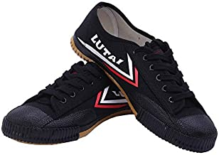Canvas Walking Training Shoes Martial Arts Kung Fu Sneakers for Men Women Kids, Black, 12.5 Women/11 Men