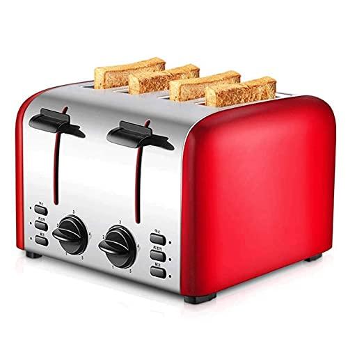 Adesign Tostadora 4 rebanadas Hogar de Acero Inoxidable eléctrico Tostadora automática con tostadora de Parrilla Máquina de Desayuno para el hogar
