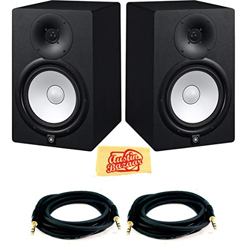 Yamaha HS7 Powered Studio Monitor Pair Bundle with Two Monitors, TRS Cables, and...