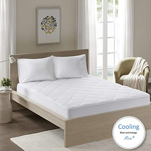 Comfort Spaces - MicaX Cooling Fiber Filled Mattress Pad Topper - Moisture Wicking, Temperature Regulating, Ultra Soft, Hypoallergenic - King size - White - Diamond Quilted - Fits Up to 18' Mattresses