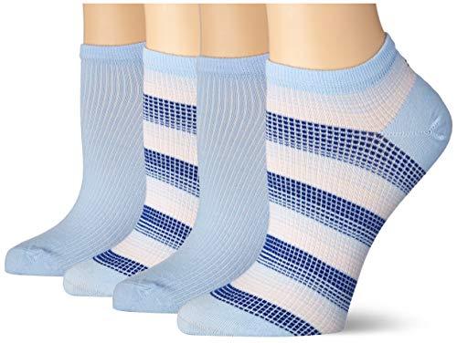 Tommy Hilfiger Womens Madras Check Sneaker-Trainer Women's (2 Pack) Socks, Light Blue, 39/42