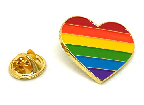 Rainbow Heart Lapel Pin - Gay Pride Brooch - LGBT Lesbian Transgender Queer Bisexual Proud - Decoration for Clothes Bags Hats