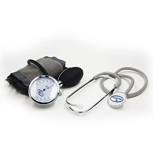 Sfigmomanometro Palmare Aneroide - Misuratore Ergonomico e Anallergico per Monitoraggio Pressione Cardiaca e Sanguigna – con Manometro in Alluminio e Stetoscopio Incluso
