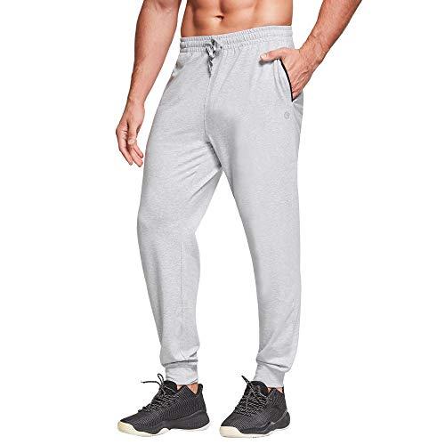 Ogeenier mäns bomull träningsoverall underbyxor joggingbyxor träningsbyxor löpbyxor med fickor, ljunggrå, L