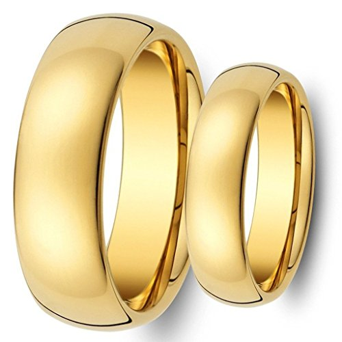 Ring for Men and Ring for Women His & Her's 8MM/6MM Tungsten Carbide Shiny Gold Classic Wedding Band Ring Set