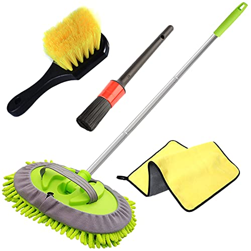 GreatCool 4 Stück Autowaschbürsten-Set, Autowaschmopp-Handschuh mit 11 CM Aluminiumstange, Autowaschbürste für Rad, Pedal und Bodenmatte, Detailbürste, Auto Trockentuch für Autos, LKW und Wohnmobilen