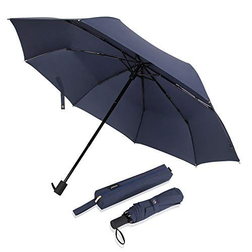 Saiveina Windproof Travel Umbrella, Compact Water-Resistant Foldable Umbrella (Blue)