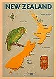 Nuova Zelanda Mappa Dunedin Wellington della Tela di Canapa