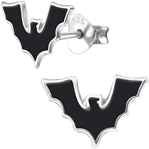 JAYARE Ohrringe Mädchen Fledermaus 925 Sterling Silber 7 x 11 mm Kinder Halloween Ohrstecker Mädchenohrringe Kinderohrstecker