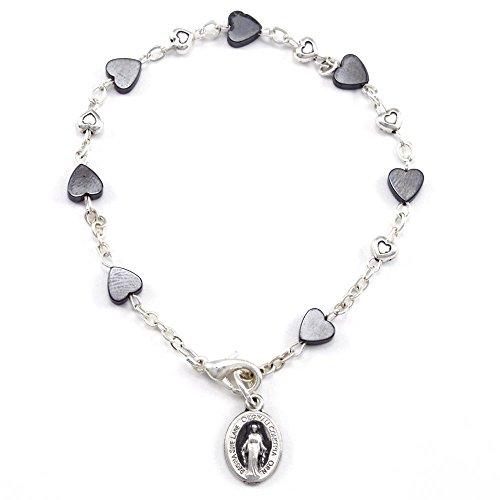 Heart Shaped Hematite Beads Rosary Bracelet