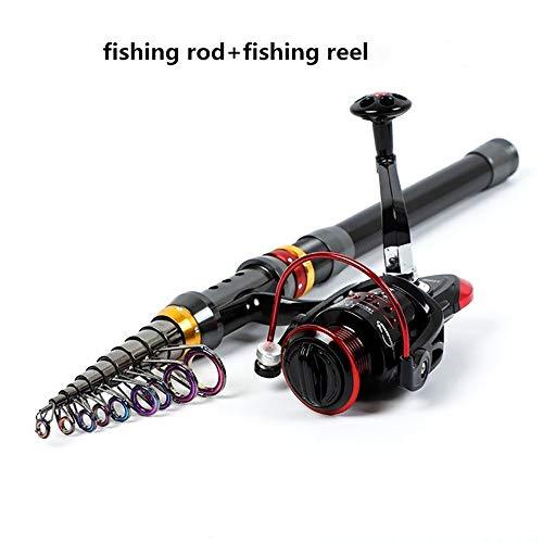 WSXD 1,8 m / 2,1 m / 2,4 m / 2,7 m / 3,0 m / 3,6 m Carbon-Teleskop Angelrute und Reel Kombi-Set Rock-Spinning Angelrute Pol Reise Meer (Color : Fishing Rod with Reel, Length : 3.6 m)