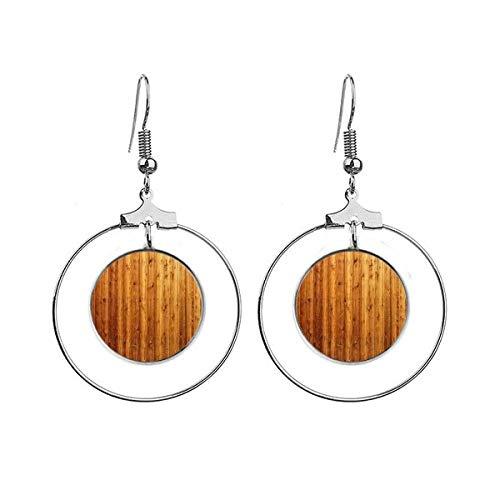 Oranje Houten Vloer Behang Textuur Oorbellen Dangle Hoop Sieraden Drop Cirkel
