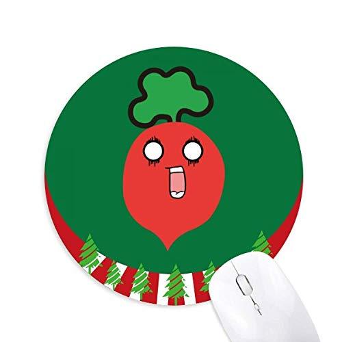 Alfombrilla de ratón redonda de goma con diseño de rábano sorprendido con emoticonos de dibujos animados, decoración navideña