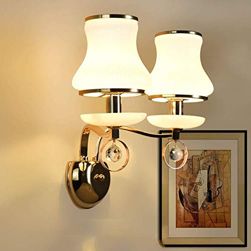 Sconce wandlamp helder kristal dubbele hoofd muur lamp wit glas lampenkap smeedijzer kristal nachtlampje 5-25 vierkante meter wandlampen