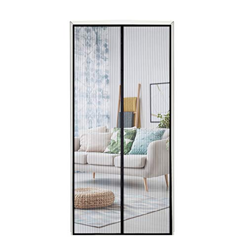 Homitt Magnetic Screen Door with Heavy Duty Mesh Curtain and Full Frame Hook&Loop Fits Door Size up to 37'-82' Max