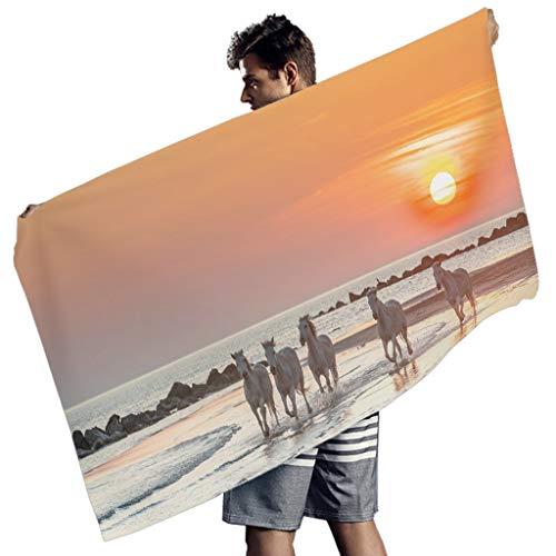 Strand Pferd Sonnenuntergang Landschaft Druck Badetuch Fantasie Handtücher White 150x75 cm