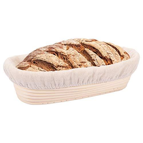 XYDZ Proofing Basket Oval, Proofing Basket für Brotteig aus Weide mit Leineneinsatz, Proofing Baskets für Brot Brotbacken
