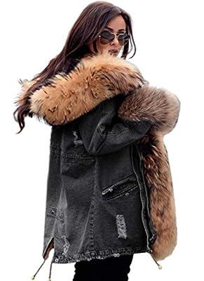 Aofur Plus Size Women's Long Hooded Parka Coat Warm Winter Overcoat Faux Fur Collar Qulited Jacket (X-Large, Grey Denim)