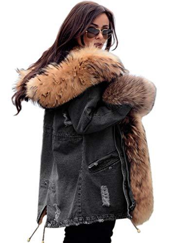 Roiii Damen Winter Warm Dick Kunstpelz Mantel Kapuze Parka Lange Jacke Größe 36-50(L,Denim Braun)