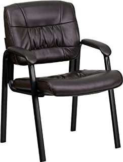 Flash Furniture Brown Leather Executive Side Reception Chair with Black Metal Frame