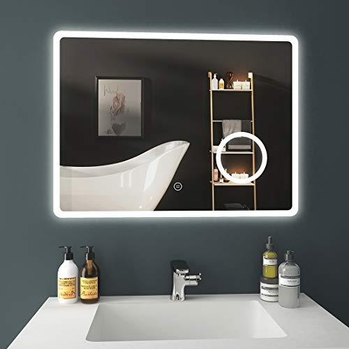 EMKE Badezimmerspiegel 80x60cm LED Badspiegel mit Beleuchtung kaltweiß Lichtspiegel Wandspiegel mit Touchschalter, Beschlagfrei, Kosmetikspiegel