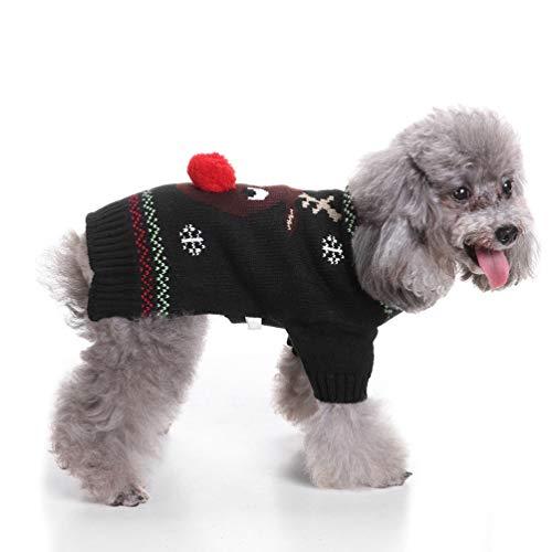 Balacoo Hund hässliche Weihnachten Pullover - niedliche Rentier Haustier Hund Weihnachten gestrickter Pullover Welpe Katze Winter Sweatshirt Kleidung warme Strickwaren Hoodies (schwarz Größe l)