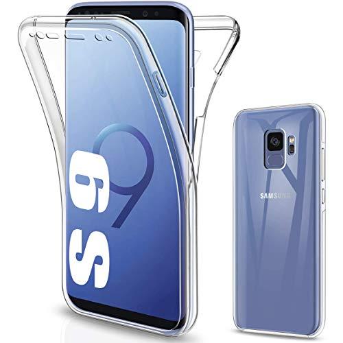 CaseNN Kompatibel mit Samsung Galaxy S9 Hülle 360 Grad Handyhülle Silikon PC Crystal Clear Full Body Schutz Slim Cover Transparent mit Displayschutz Vorne und Hinten Schutzhülle Bumper Durchsichtige