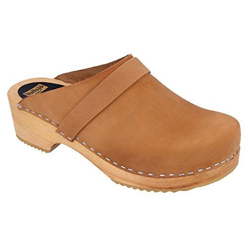 Vollsjo Women's Genuine Leather Wooden Clogs Made in EU, Suede - Light Brown,7