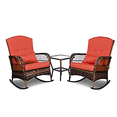 ENSTVER 3 Pieces Patio Conversation Set w/ 2 Rattan Wicker Rocking Chairs and Glass Table,for Garden Backyard Lown Porch(Red)