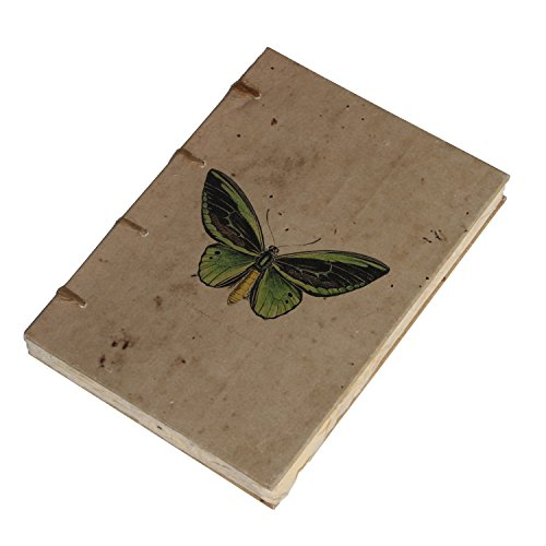 Handmade Journal Travelogue Diary,Vintage Butterfly Artwork,Acid-FreeHandmade Paper,Flat Open,Hard Bound,Swiss Binding,A5 Size,125 GSM,140 BlankDeckle EdgePages