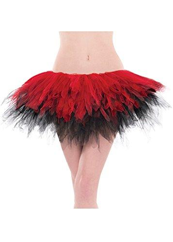 Jupe Tutu gothique rouge et noir Net adulte