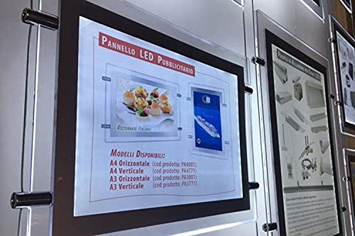 Sistema luminoso publicitario, póster fino LED A3 horizontal para agencias inmobiliarias, escaparates, tiendas, restaurantes, bares