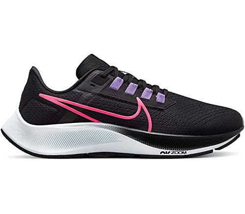 Nike Air Zoom Pegasus 38, Scarpe da Corsa Donna, Black/White-Anthracite-Volt, 39 EU