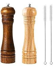 Houten Pepermolen Peper Grinder Kit Handmolens Massief met Sterke Verstelbare Keramische Grinders Set 8 Inches