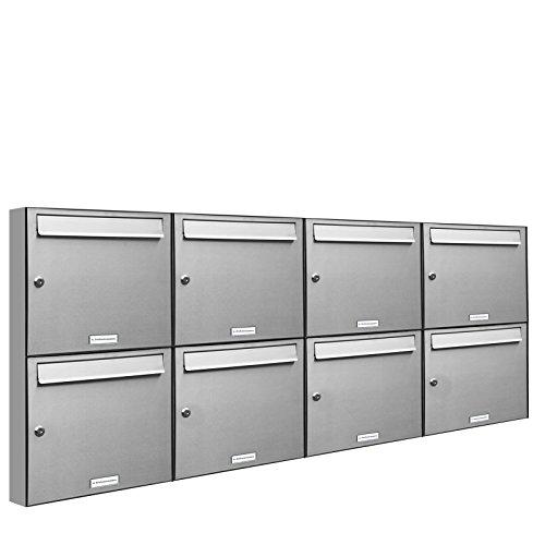 AL Briefkastensysteme 8er Briefkastenanlage Edelstahl, Premium Briefkasten DIN A4, 8 Fach Postkasten modern Aufputz