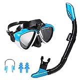 Ulikey Snorkel Set Niños, Gafas de Buceo - Máscara Antivaho y Snorkel Seco, con Montaje de Cámara Snorkel Premium Set Adulto