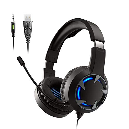 HBOY Computer Gaming Headset, Head-Mounted PS4 Gaming Headset, Wired Lighting Subwoofer Afstandsbediening Headset, 360° Verstelbare Headset, 40MM Grote Speaker Unit.